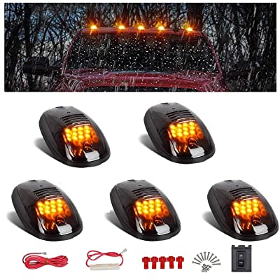 NPAUTO 5pcs Smoked Cab Marker Lights 12 LED Amber Roof Top Clearance Lights Running Lights w/Wiring Pack for 2003-2020 Dodge Ram 1500 2500 3500 4500 5500 Pickup Trucks SUV 4x4: Automotive