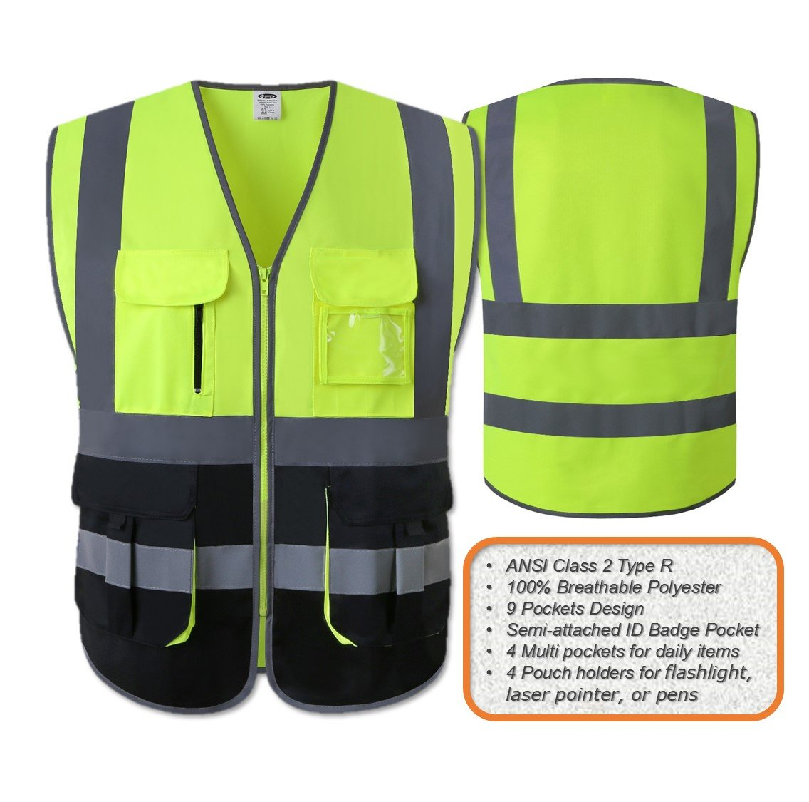 JKSafety Multi Pockets Class 2 High Visibility Zipper Front Safety Vest With Reflective Strips.Meets ANSI/ISEA Standards (Yellow-Black L) by JKSafety (Image #2)