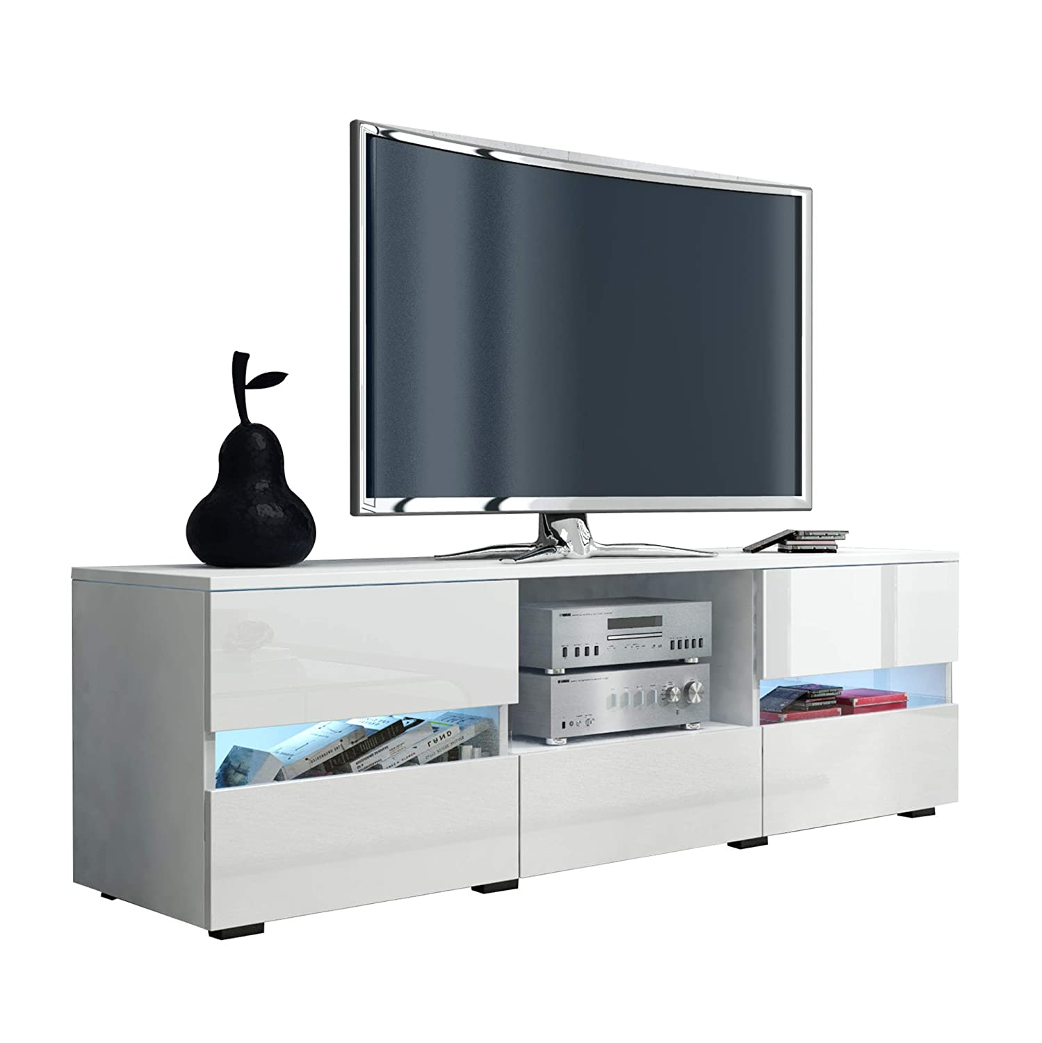 Amazon Com Furniture Agency Global High Gloss Tv Stand Led Multiple