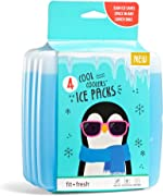 Fit & Fresh Cool Coolers Reusable Ice Packs, Set of 4,
