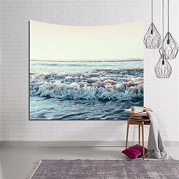 HTKJ Toalla de playa Sunscreen Mantón Casa Bonita decoración tapices de pared de fondo las olas del mar diseño,4.200*150cm.: Amazon.es: Hogar