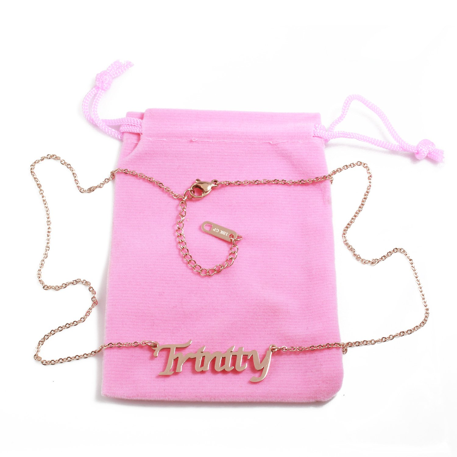 18ct Rose Gold Plated Zacria Trinity Name Necklace