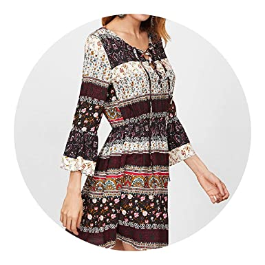 Ethnic Print Retro 3/4 Sleeve V Neck Loose Floral Dress Lace up Beach Dresses