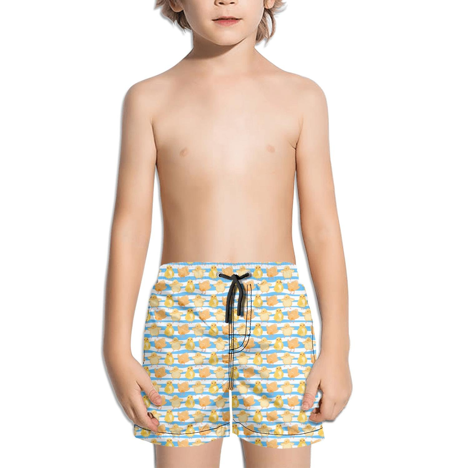Lenard Hughes Boys Quick Dry Beach Shorts with Pockets Funny Chick Dancing Swim Trunks for Summer
