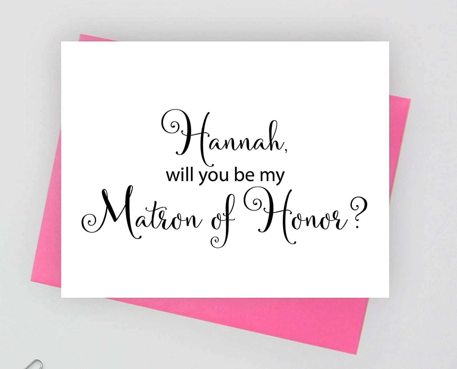 1 folded card Personalized Will you be my matron of honor note cards for wedding