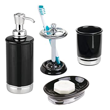 Amazoncom Mdesign Bathroom Accessory Set Soap Dispenser Soap