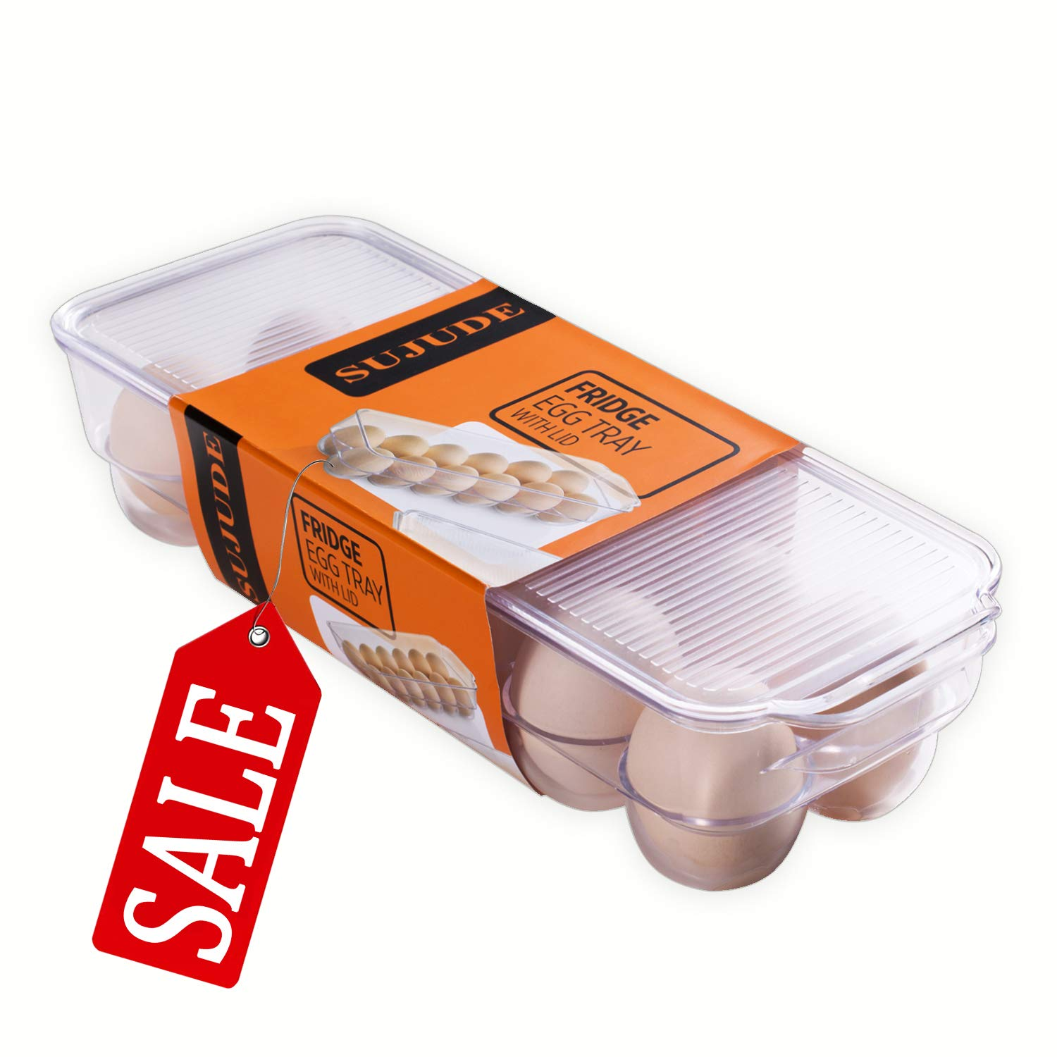 12 Egg Holder, Egg Tray With Lid, Egg Storage Container for Kitchen Refrigerator (Pack of 1)