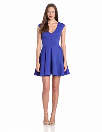 eight sixty Women's Ponte V-Neck Capsleeve Full Circle Dress, Spectrum Blue, X-Small