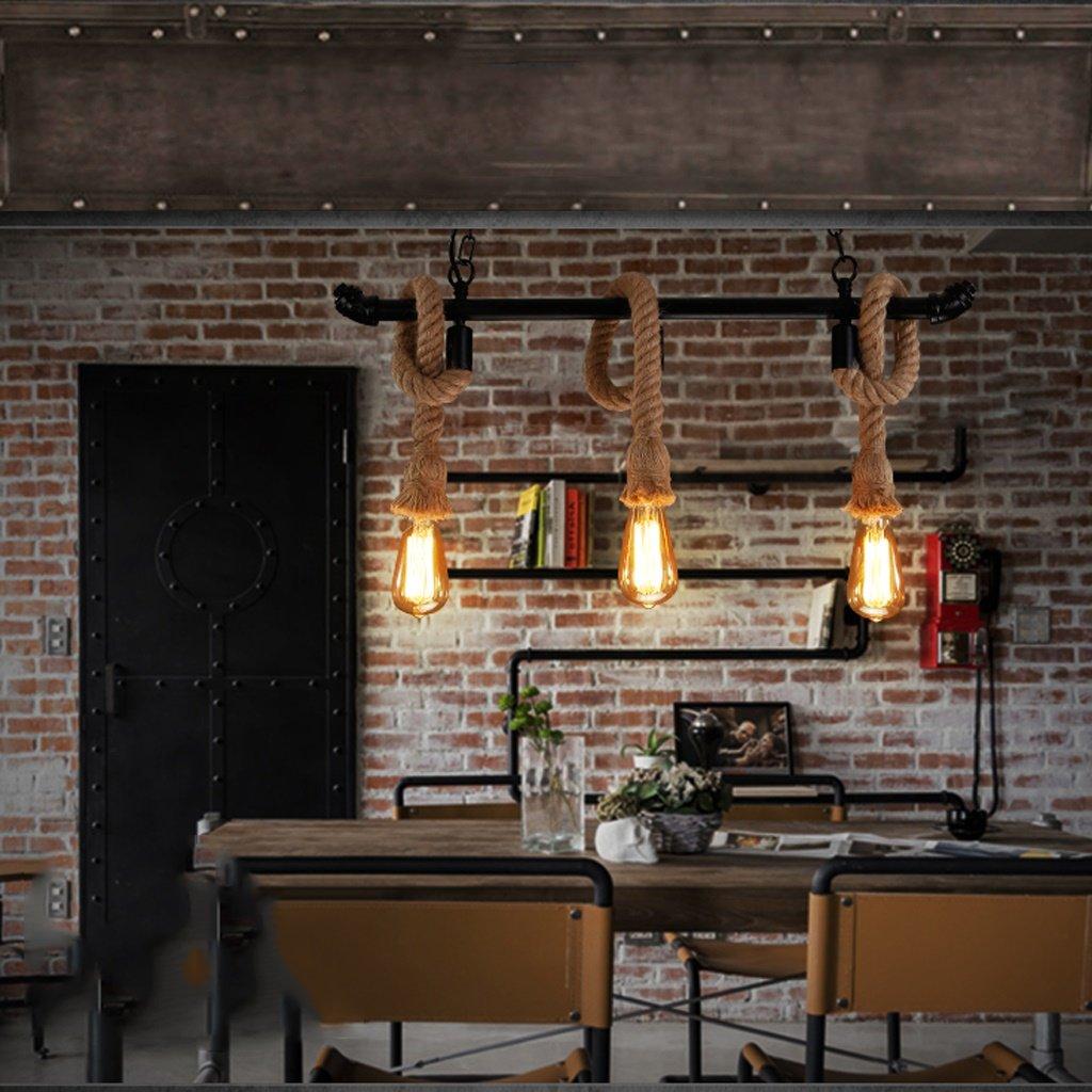 Art Kronleuchter American Retro Restaurant Bar Eisen Wasserrohr Lampen Nordic Minimalist Bar Cafe Hanf Seil Kronleuchter