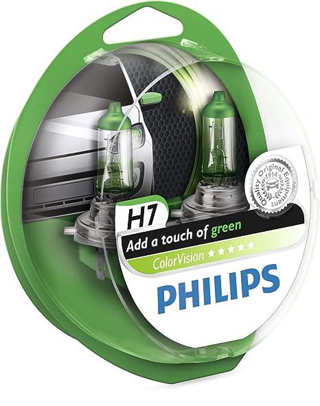 Philips ColorVision Bombilla para faros delanteros verde 12972CVPGS2 - bombilla para coches (55W, H4