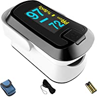 mibest OLED Finger Pulse Oximeter, O2 Meter, Dual Color White/Black