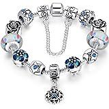 A TE® Bracciale Charm Beads Fiori di Vetro Smalto Catena Sicurezza Regalo Donna 18cm/20cm#JWB107
