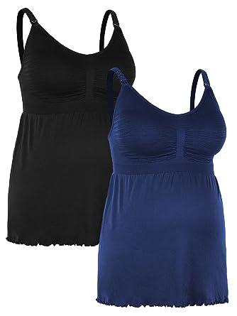 23c5285d19eed iLoveSIA Womens Nursing Tank Maternity Breastfeeding Cami Shirt Black+Blue  Size S