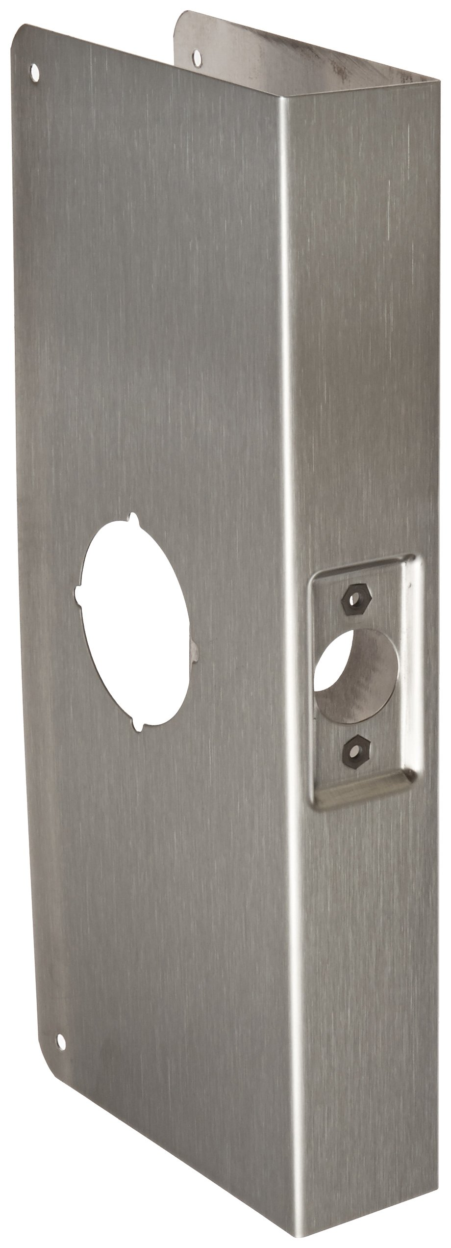Don-Jo 12-CW 22 Gauge Stainless Steel Classic Wrap-Around Plate, Satin Stainless Steel Finish, 4-1/4'' Width x 12'' Height, For Cylinder Door Lock with 2-1/8'' Hole