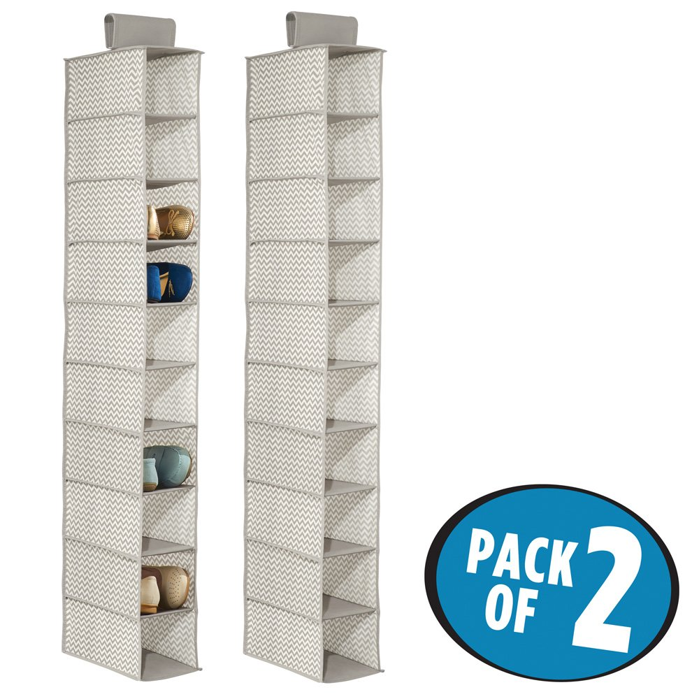 mDesign Fabric Hanging Closet Storage Organizer, for Shoes, Handbags, Clutches - Pack of 2, 10 Shelves, Taupe/Natural