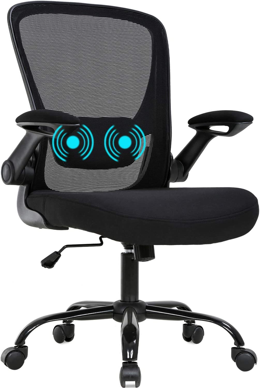 Office Chair Ergonomic Desk Chair Mesh Computer Chair Swivel Rolling Mid Back Task Chair with Lumbar Support Flip-up Arms MassageAdjustable Chair for Women Adults(Black)