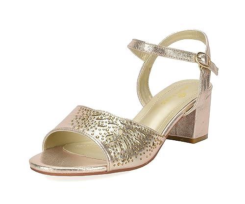 49c62ea5c4e9 DREAM PAIRS Women s Mona 10 Gold Fashion Block Heeled Sandals Size 5 B(M) US