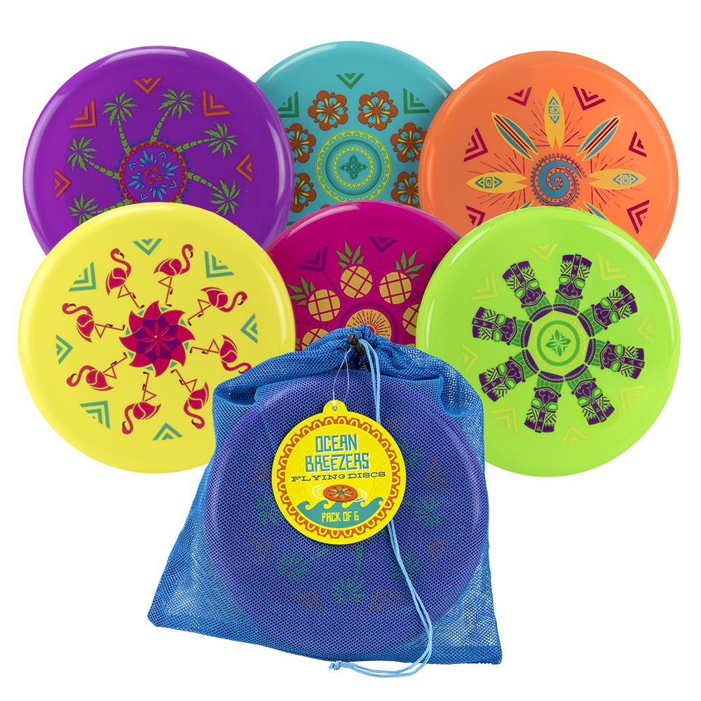 Sol Coastal Ocean Breezers Flying Discs - Pack of 6 in a Quick-Dry Mesh Carry Bag - Great for the Beach