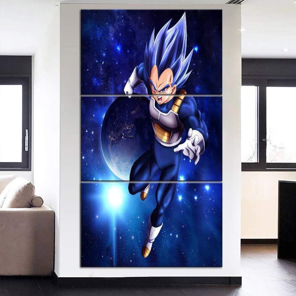 N//B sur Toile Tableaux 5 Parties HD Art Abstrait Dessin anim/é Photo Dragon Ball Vegeta Silhouette Affiche oeuvre pour d/écoration Murale sans Cadre FFFCJYQ