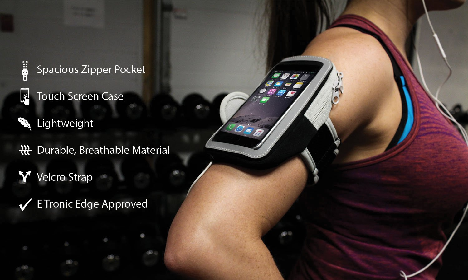 Sports Armband: Cell Phone Holder Case Arm Band Strap With Zipper Pouch/ Mobile Exercise Running Workout For Apple iPhone 6 6S 7 Plus Touch Android Samsung Galaxy S5 S6 S7 Note 4 5 Edge LG HTC Pixel by E Tronic Edge (Image #9)