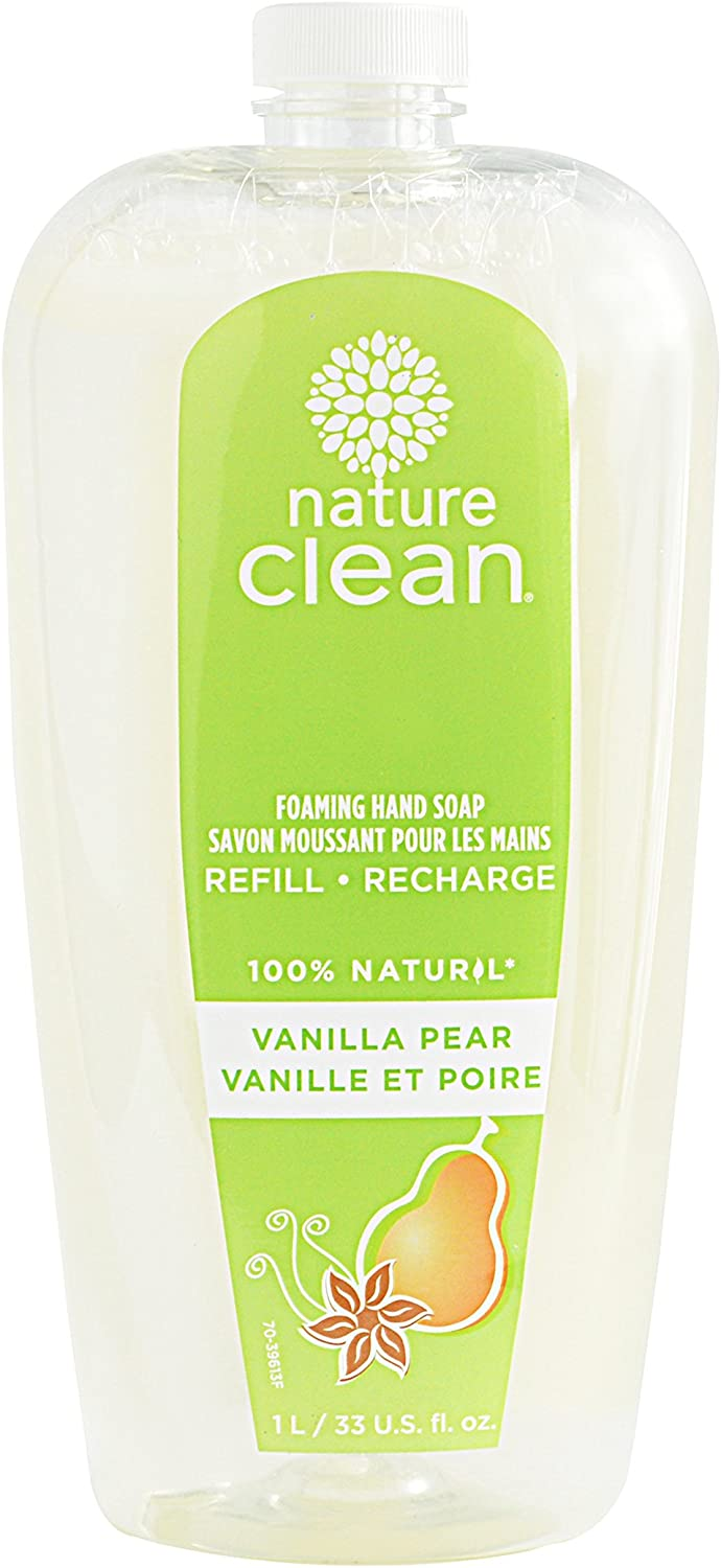 NATURE CLEAN Foaming Hand Soap Refil, Sulphate-Free, Hypoallergenic, Vanilla & Spice Pear, 33.5 Oz Refill Bottle (Pack of 6)