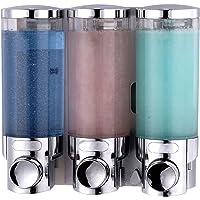 Dispensador de jabón triple para pared, cromado, transparente