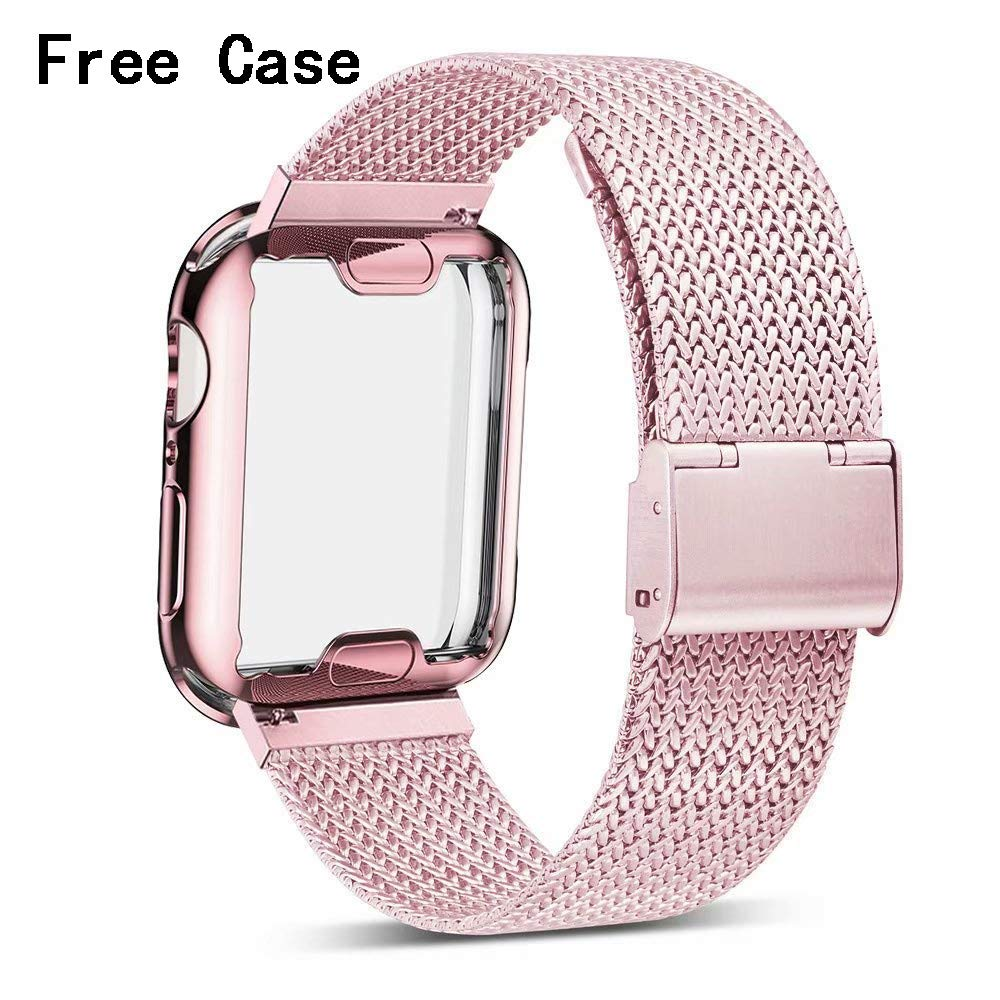 Henstar Compatible with Apple Watch Band , Stainless Steel Mesh Sport Wristband Loop with iWatch Screen Protector Compatible with iWatch Series 4/3/2/1 (Rose Gold, 38mm) by Henstar