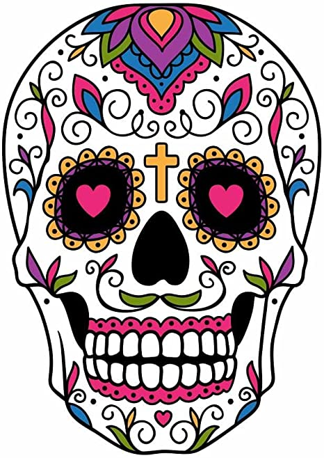 Amazon.com: Sugar Skull Dia De Los Muertos Full Color Vinyl Decal - Sized  For Stainless Steel Tumbler: Everything Else
