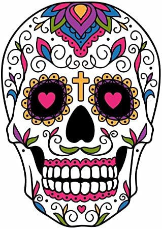 Amazon Com Sugar Skull Dia De Los Muertos Full Color Vinyl Decal Sized For Stainless Steel Tumbler Everything Else