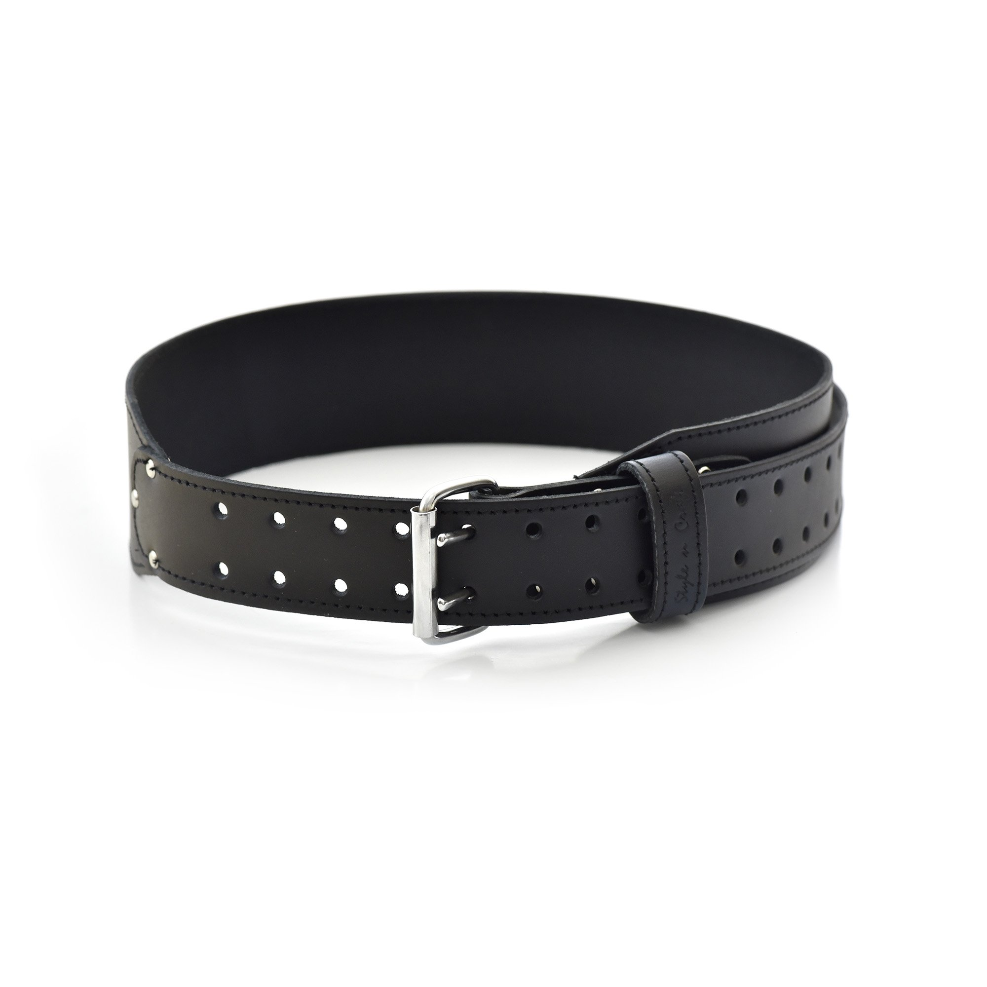 Style n Craft 75437 3'' Tapered Work Belt In Black Colored Heavy Top Grain Leather