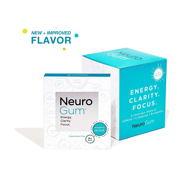 Neuro Gum Nootropic Energy Gum | Caffeine + L-theanine + B Vitamins | Sugar Free + Gluten Free + Non GMO + Vegan | Enlighten Mint Flavor (54 Count)