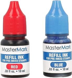 MasterMark Premium 2-Color Pre-Inked Office Stamp (Refill Ink)