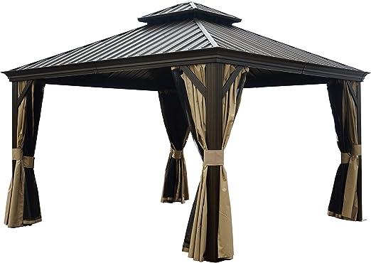 Kozyard Alexander - Cenador permanente de aluminio con mosquitera y paredes laterales de privacidad: Amazon.es: Jardín