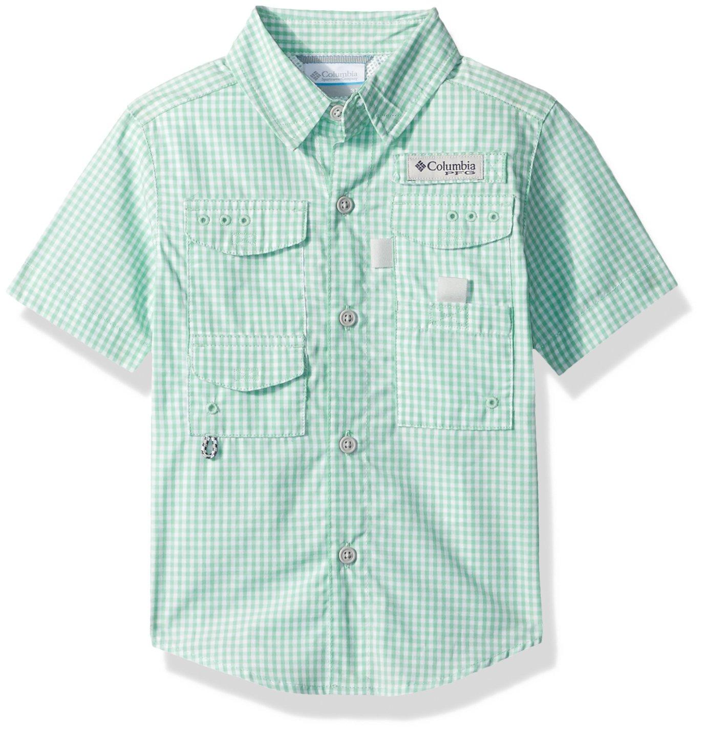 Columbia Youth Boys Super Bonehead Short Sleeve Shirt, Kelp Gingham, Small