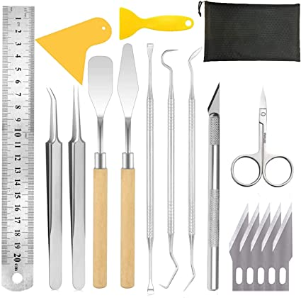 Tweezers Spatula for Weeding Vinyl PLANTIONAL Craft Weeding Tools for Vinyl: 18 PCS Craft Basic Set Tools Kits Including Scissor Silhouettes Scraper Weeders Cameos
