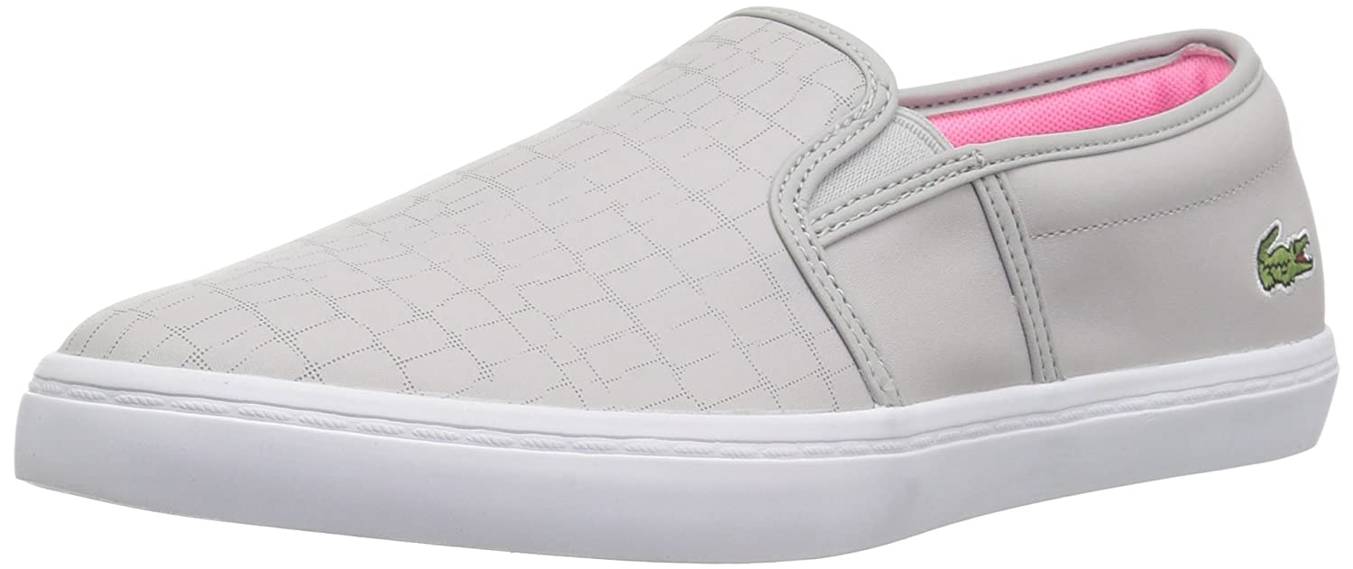 Lacoste Women's Gazon Slip-ONS B071X86TXS 6 B(M) US|Light Grey/Fluro Pnk Leather