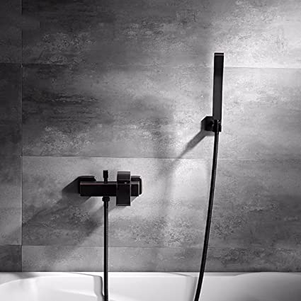 SJQKA Shower Head The Nordic Minimalist Black Full Copper Bath Faucet Bathroom Set