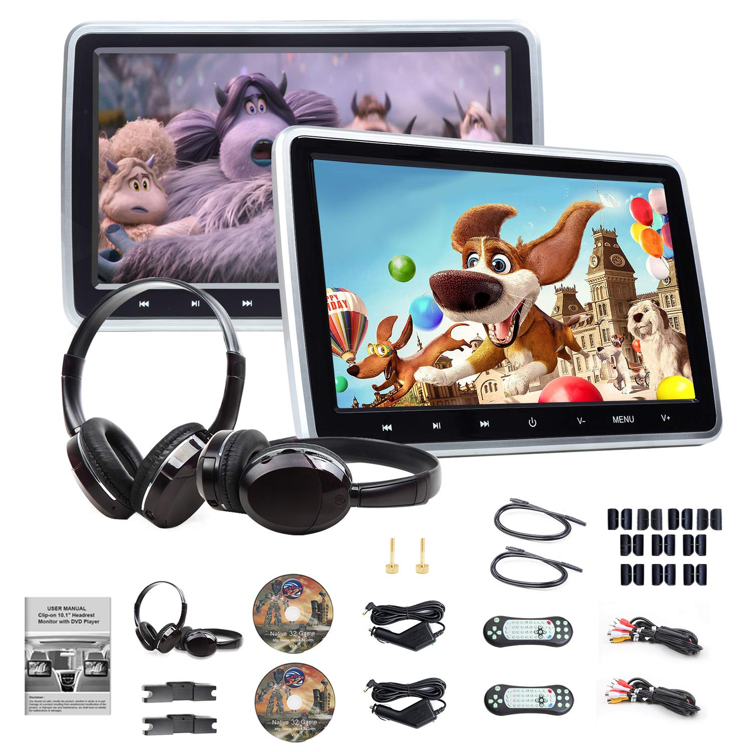 Eonon 2019 10.1 Inch Headrest Monitors, Dual Screen DVD Player Portable DVD Player for Kids Touch Screen Headrest DVD Player Digital Touch Button HDMI-C1100A by Eonon