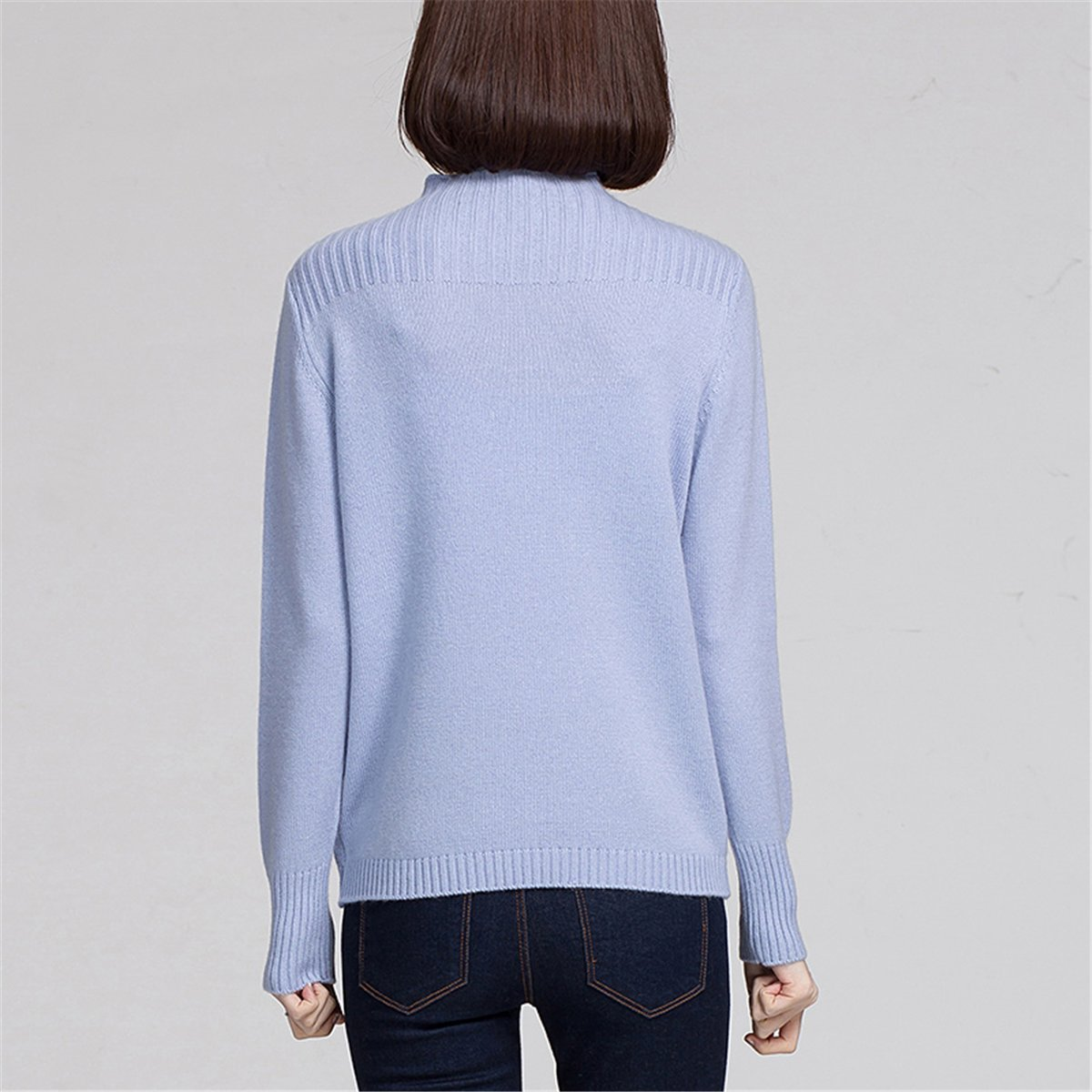 ALAPUSA Womens Casual Weave Pattern High Neck Cashmere Sweater