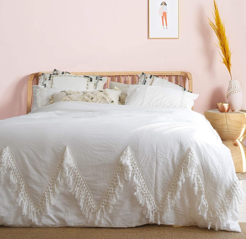 """Flber Outlet White Duvet Cover Queen Boho Bedding Tassel Comforter,86""""x90"""""""