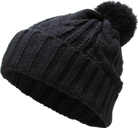 a8bff56b78e KBW-510 BLK Slouchy Cable Knit Pom Pom Beanie Winter Cap Chunky Skull Hat  Ski