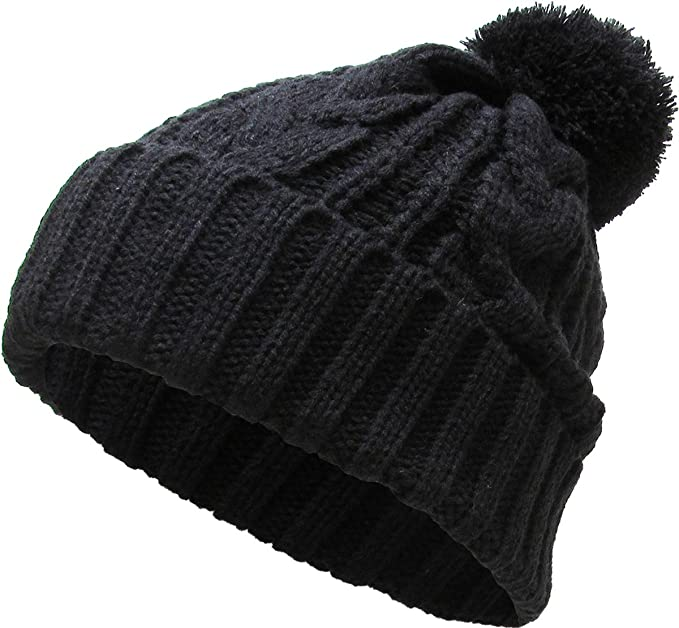 d51c7bac KBETHOS Women's Winter Warm Thick Oversize Cable Knitted Beaine Hat with  Pom Pom