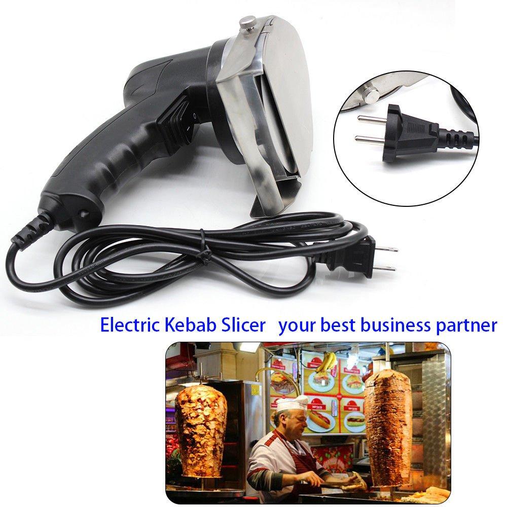 Electric Kebab Knife,110V 80W Professional Commercial Electric Shawarma Doner Kebab Knife Cutter Gyros Slicer Kebab Knife 2 Blades (USA Stock) by SHZICMY (Image #8)