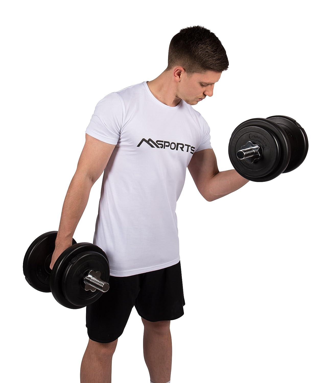 Juego de pesas 30 kg (2 x 15 kg) | Juego de pesas cortas, 30 kg (2 x 15 kg) Schwarz / Silber: Amazon.es: Deportes y aire libre