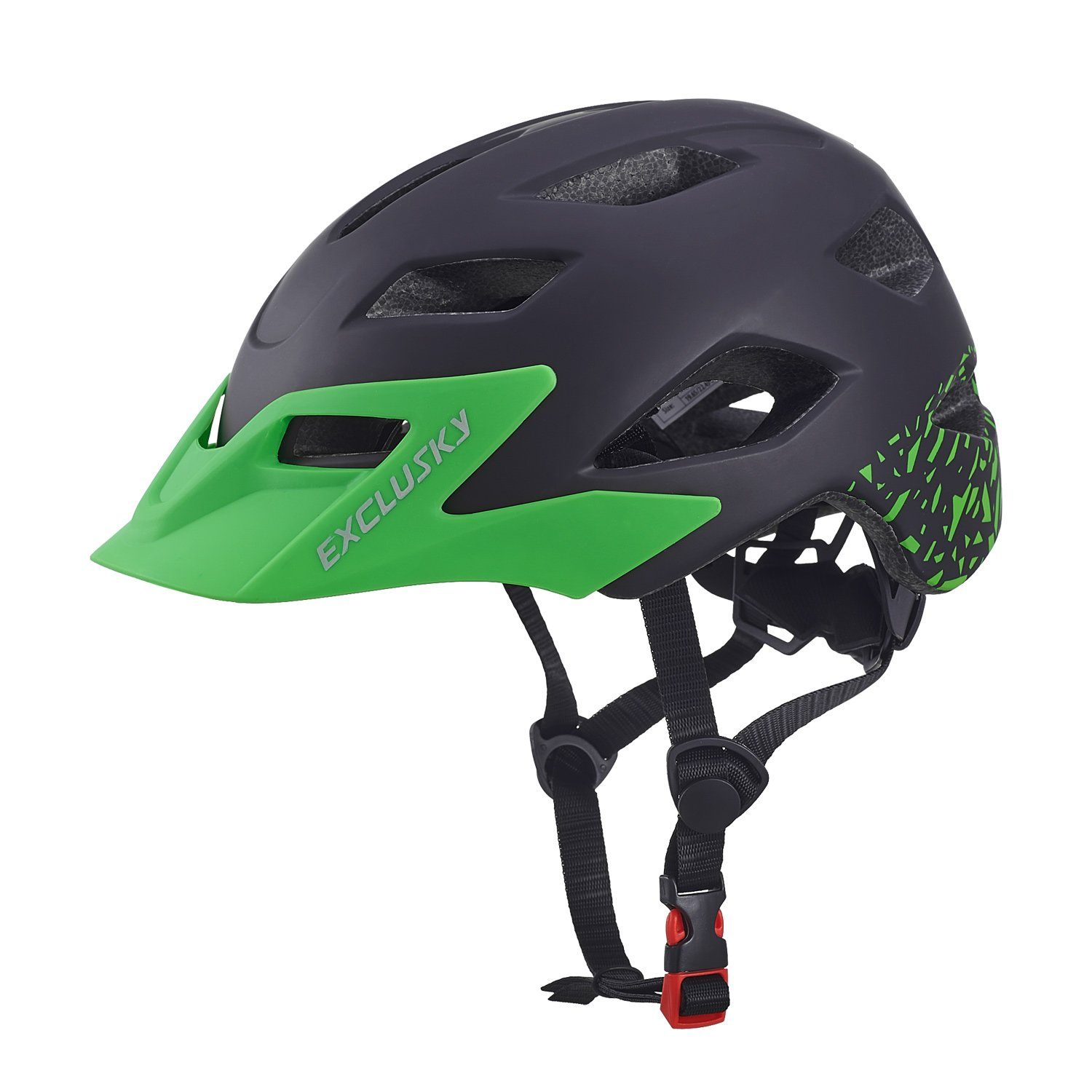 Exclusky Youth Bike/Skate/Multi-Sport Helmet Adjustable 50-57cm(Ages 5-13) (Black)