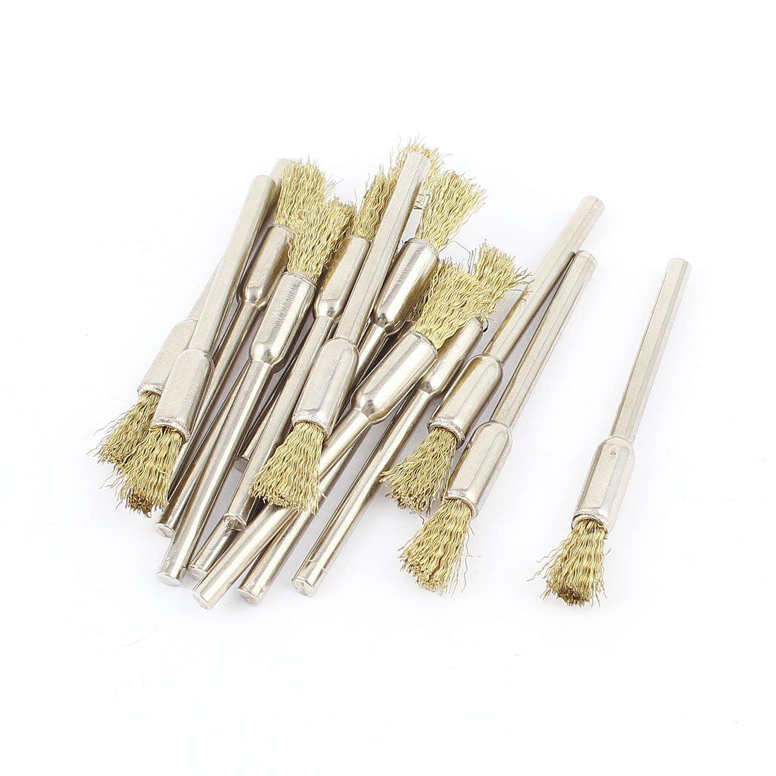 3 mm redondo filo tono de oro con forma de lá piz herramientas Cepillos de alambre pulido 16 piezas Sourcingmap a14110600ux0720