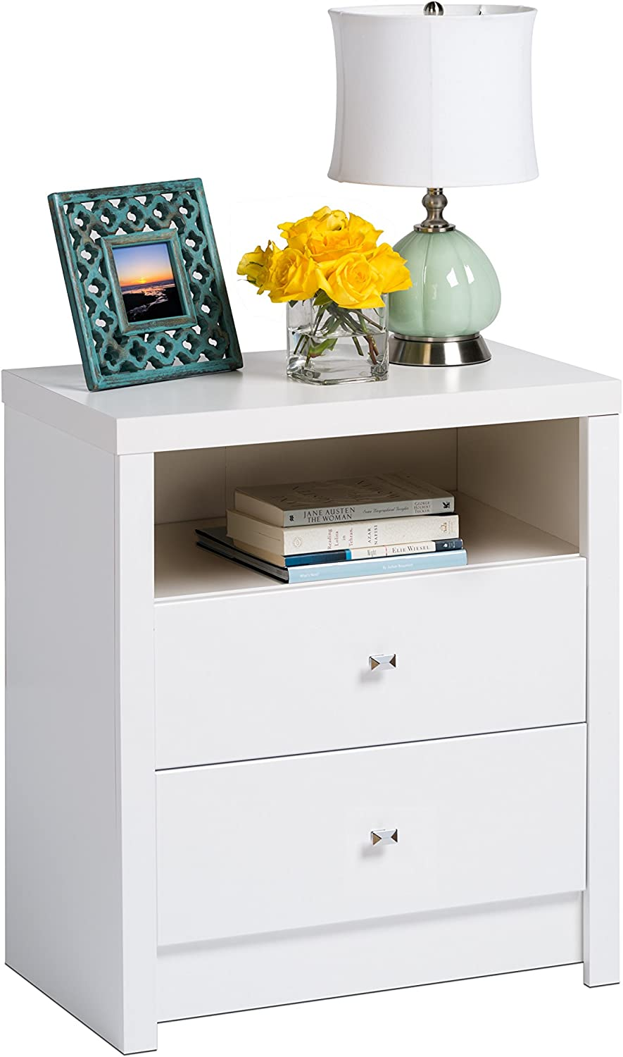 Amazon Com Prepac Calla Tall 2 Drawer Nightstand White Furniture Decor