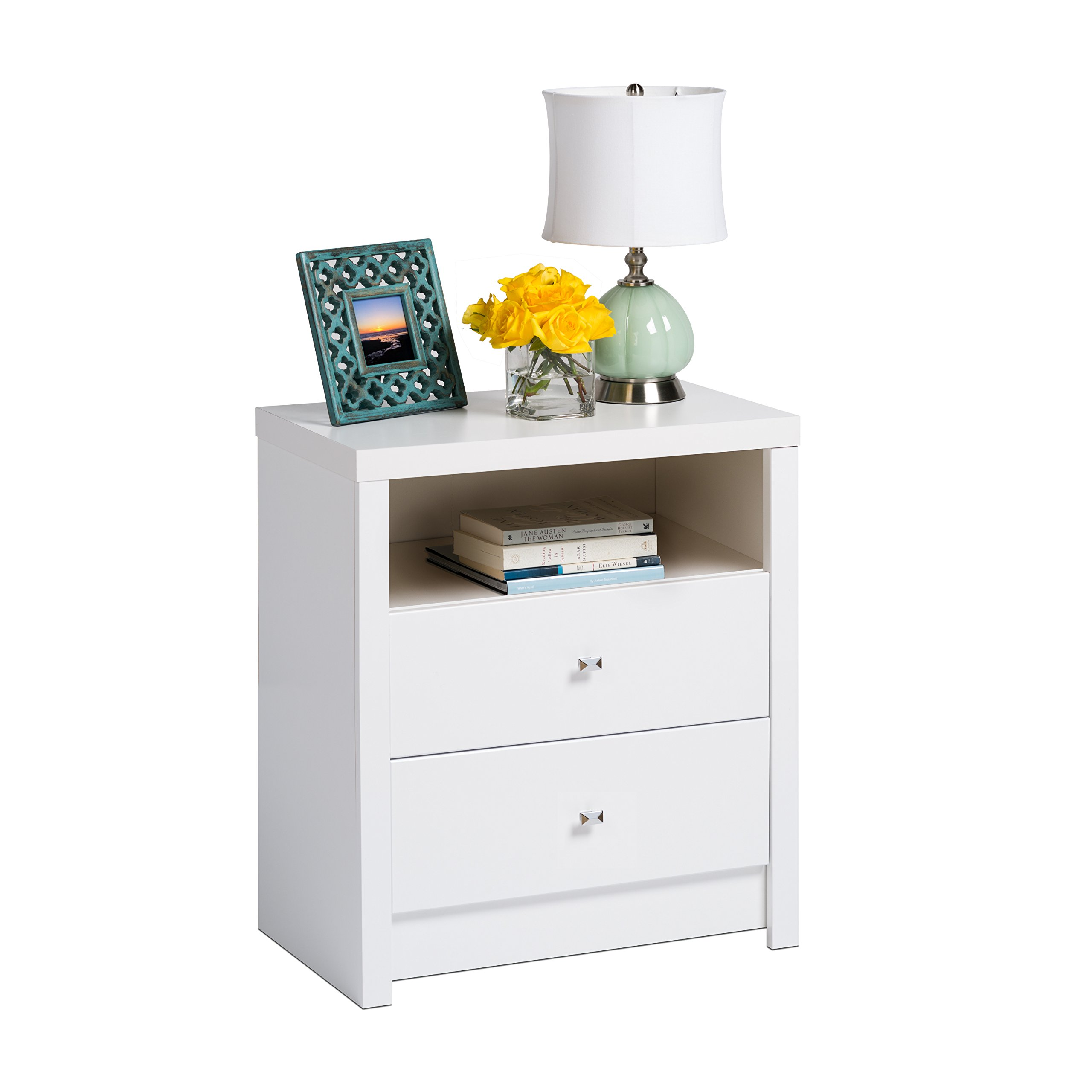 Prepac Calla Tall 2 Drawer Nightstand, White by Prepac