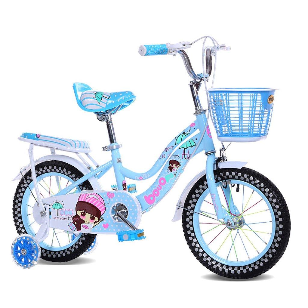 子供の自転車12/14インチの女の子のベビーキャリア2-3-4-5歳の赤ちゃんのサイクリング高炭素鋼、ピンク/青/紫 (Color : 14 inch blue)   B07D29MYCT