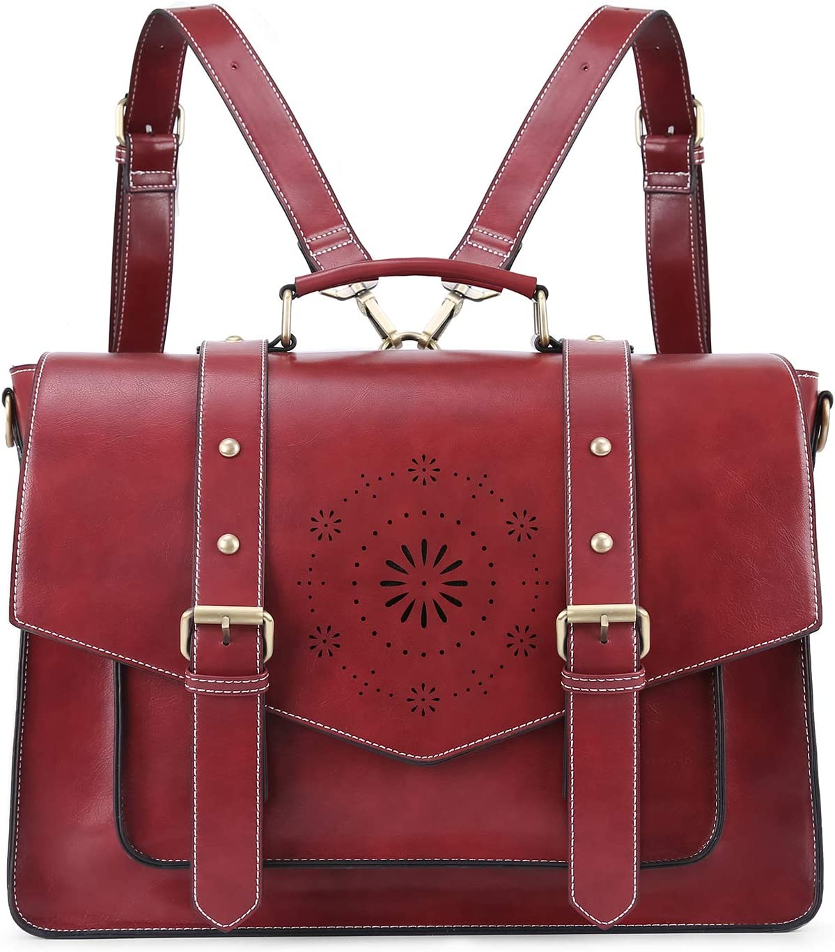 ECOSUSI Backpack for Women Briefcase Messenger Laptop Bag Vegan Leather Satchel Work Bags Fits 15.6 inch Laptops, Red